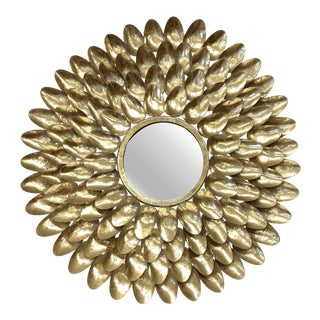 Gold Metal Sunburst-Style Mirror