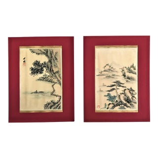 Asian Paintings on Silk - A Pair