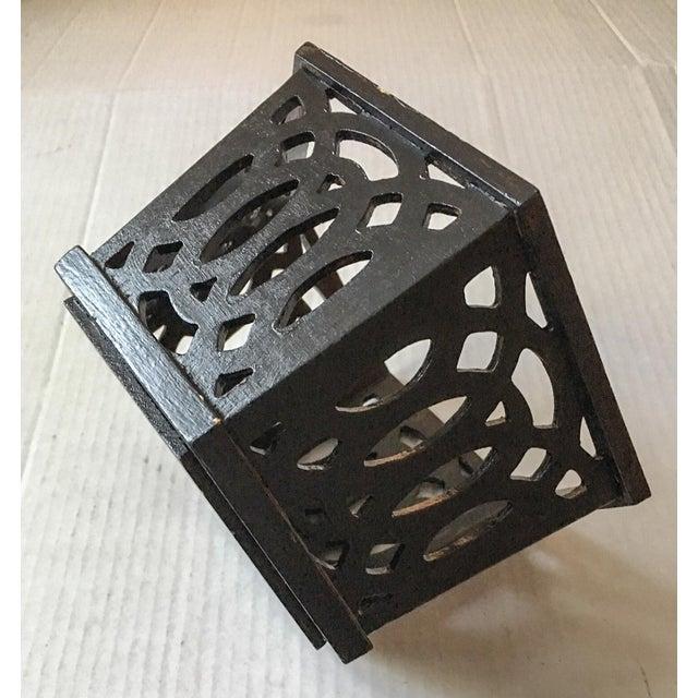 English Fretwork Octagonal Ebonized Wood Cachepot - Image 5 of 6