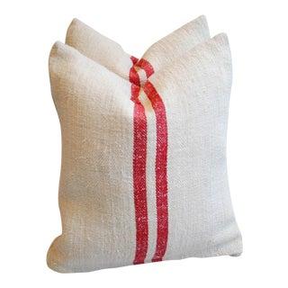 Red Striped European Homespun Textile Pillows - A Pair
