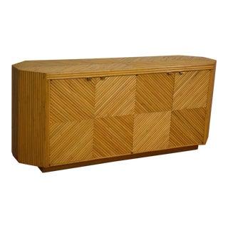 Milo Baughman Style Split Bamboo Cabinet Credenza