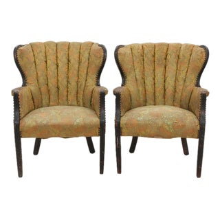 Channel Tufted Wingback Chairs - a Pair