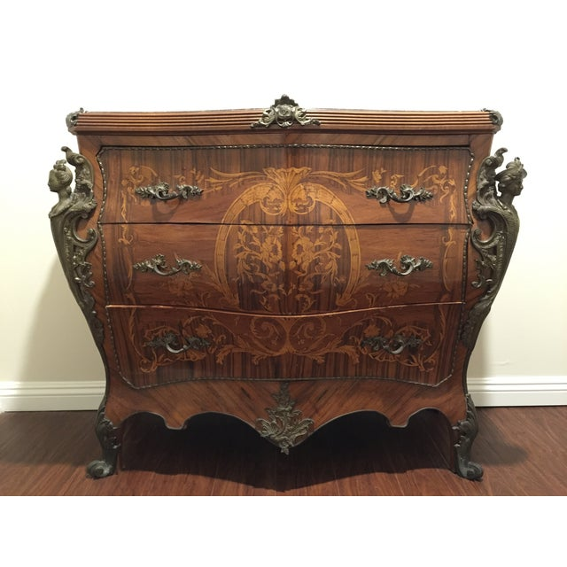 Ant Marble Top Louis XV Marquetry Commode Bronze - Image 2 of 11