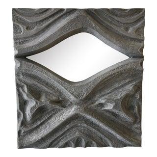 Brutalist Style Pewter Mirror