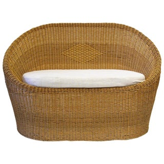 Two-Seat Woven Wicker Loveseat in the Manner of Aarnio