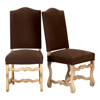 Set of 6 Bleached Oak Wood Os Du Mouton Dining Chairs