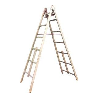 Antique 10 Foot Wooden Fruit Picking Ladder