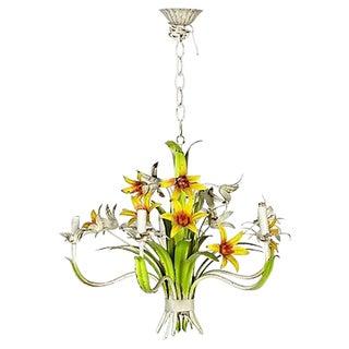 1960's Floral Metal Hanging Chandelier