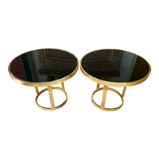 Hollywood Regency Style Brass & Smoked Glass Side Tables- A Pair