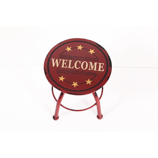 Round Antique Welcome Metal Stool - Image 2 of 3