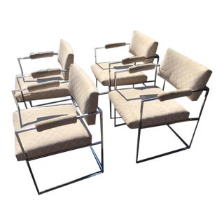 Milo Baughman Chrome Arm Chairs