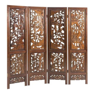 Hand-Carved Four-Panel Room Divider