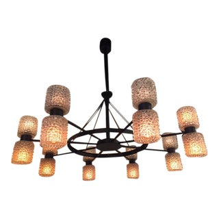 Spoke Wheel Iron Chandelier With Glass Shades