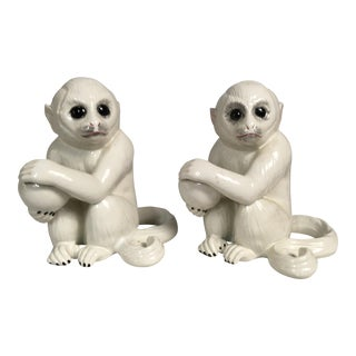 Italian White Terra Cotta Monkeys - A Pair