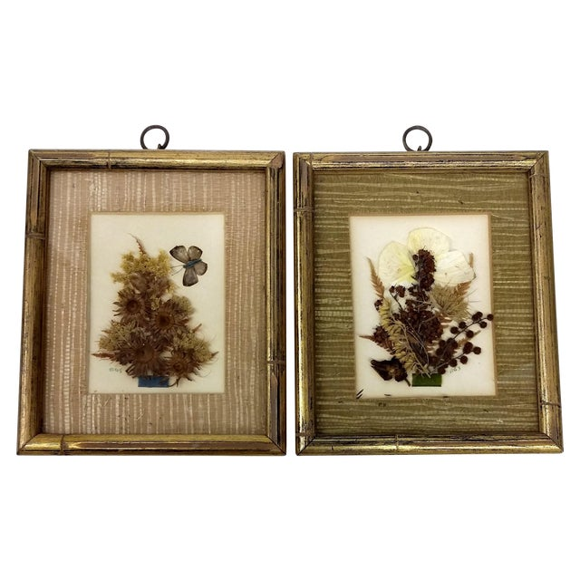 Mid-Century Botanical Flower Art Pieces - A Pair - Image 1 of 7
