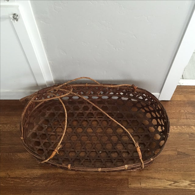 Large Vintage Wicker Bassinet With Rope Handles - Image 3 of 5