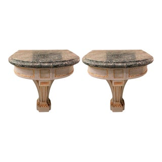 Hollywood Regency Painted and Marble Demilune Consoles - a Pair