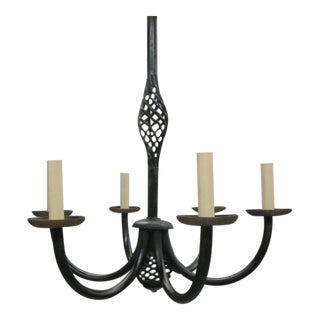 French 1940s Wrought Iron Chandelier in the Style of Gilbert Poillerat