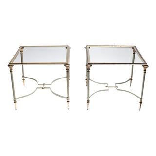 Maison Jansen Steel & Brass Side Tables- A Pair