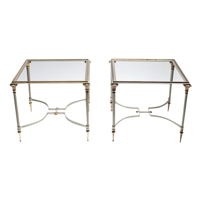 Image of Maison Jansen Steel & Brass Side Tables- A Pair
