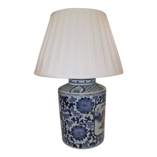 Asian Blue Design Pottery Lamp