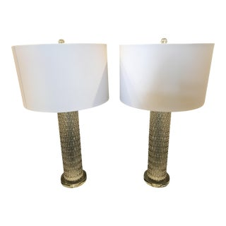 Diamond Patterned Glass Table Lamps