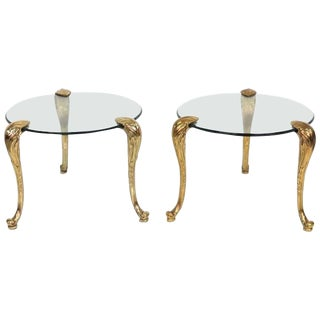 P.E. Gurein Style Brass and Grass End Tables - A Pair
