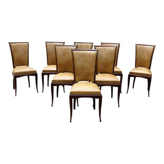 Fine French Art Deco Jules Leleu Style Mahogany Dining Chairs - Set of 8