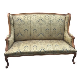 Green Damask Highback Rococo Sofa
