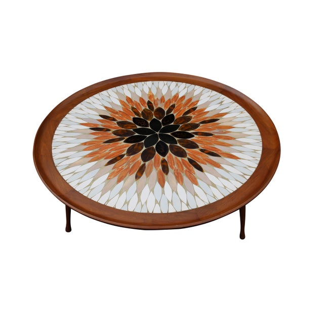 Hohenberg Mid-Century Round Tile Top Coffee Table - Image 1 of 6