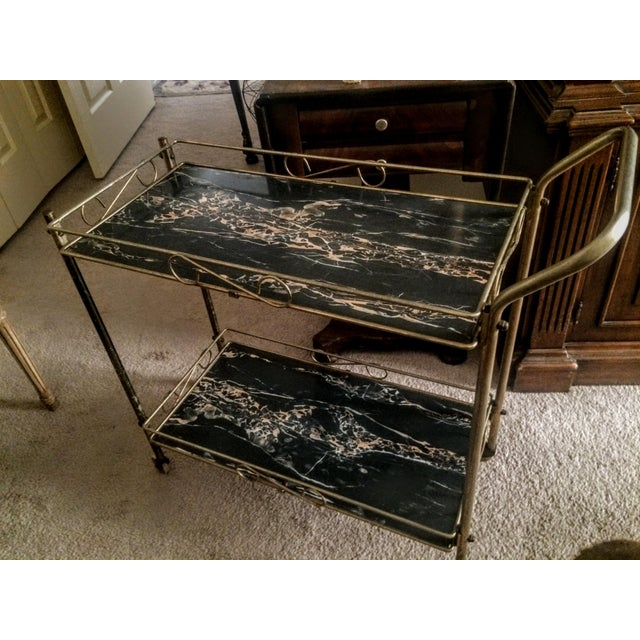 Mid-Century Modern Brass & Marble Rolling Bar Cart - Image 9 of 11