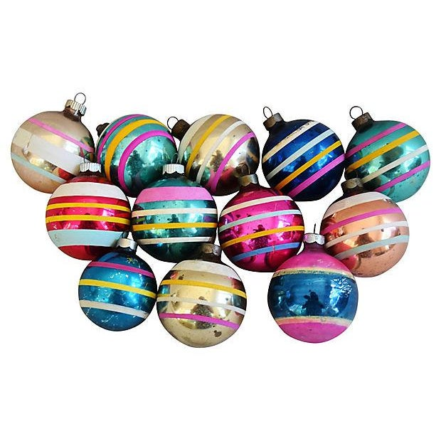 1960s Striped Christmas Ornaments w/Box - Set of 12 - Image 7 of 7