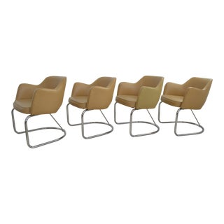 Eero Saarinen Knoll Executive Style Chrome and Upholstered Dining Chairs-Set of Four