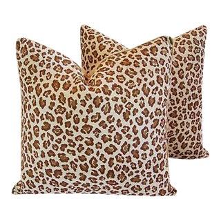 Custom Safari Leopard Velvet Feather Pillows - A Pair