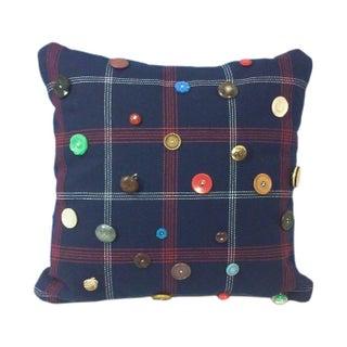 Red, White & Blue Plaid Vintage Button Throw Pillow