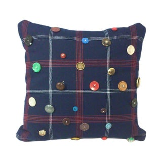 Red, White & Blue Plaid Vintage Button Throw Pillow