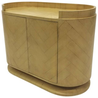 Cylindrical Two-Door Cabinet in Faux Parquet
