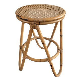 Vintage Bent Leg Bamboo Stool With Cane Seat