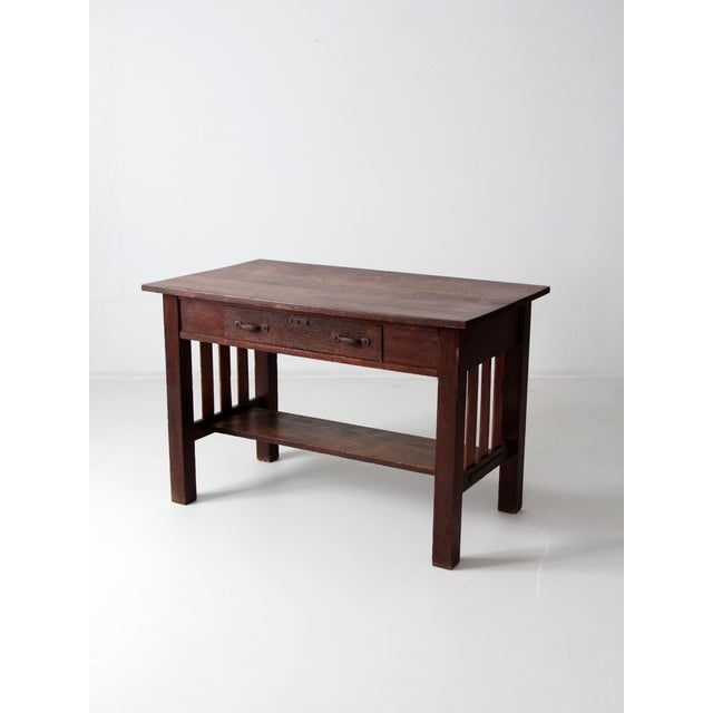 Antique Mission Style Desk - Image 6 of 8