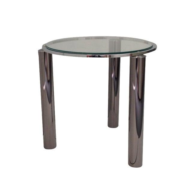 Karl Springer Style Chrome End Table - Image 1 of 6