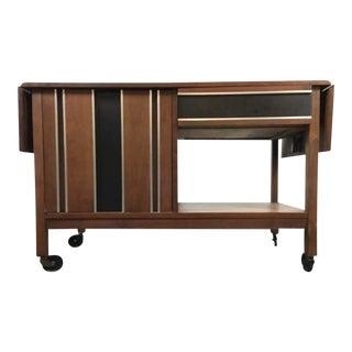 Mid-Century Modern Laminate Walnut and Chrome Buffet Cart