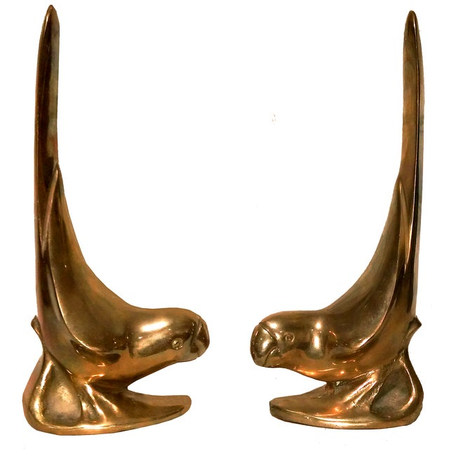 Image of Vintage Brass Parakeet Bookends - A Pair