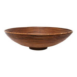 Vintage Oversized Bamboo Pencil Reed Bowl Tray
