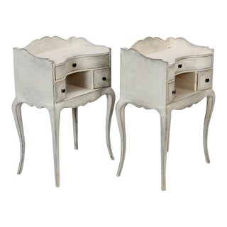 Pair of French Antique White Bedside Tables or Nightstands