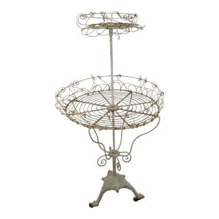 Antique French Tiered Wire Stand