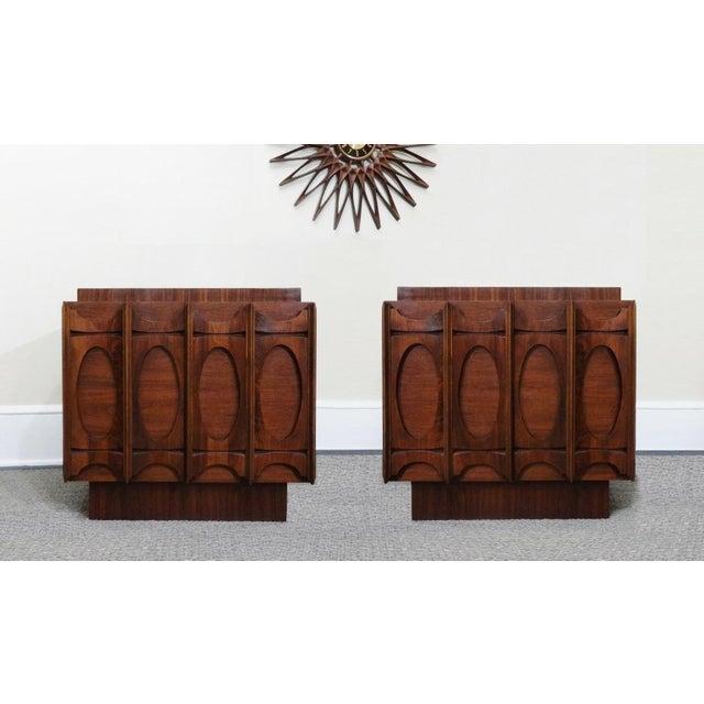 Mid-Century Lane Brutalist Style Walnut Nightstands - A Pair - Image 2 of 4