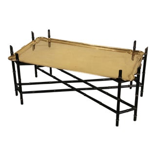 Baker Style Brass Tray & Black Faux Bamboo Base Coffee Table