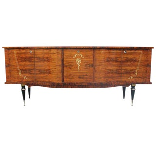 1940s Vintage French Art Deco Exotic Walnut Long Sideboard/Buffet