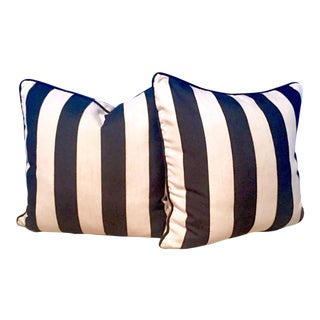 Custom Black & White Cabana Stripe Pillows - Pair