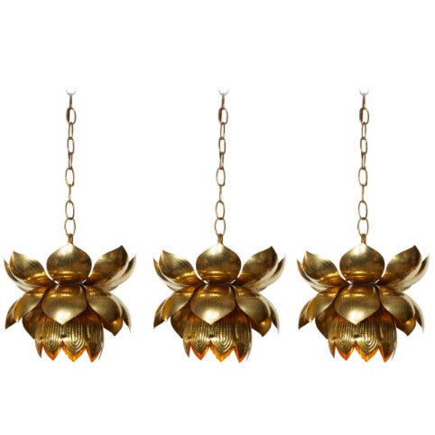 Small Brass Lotus Pendant Lights - Set of 3 - Image 7 of 7